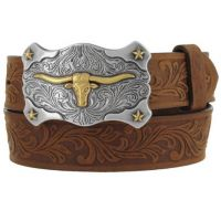 C60119 Aged Bark Tooled Leather Little Texas Tony Lama Kids Belts