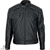 Milwaukee Warrior Leather Black Mens Motorcycle Jacket M5254