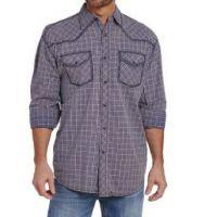 Cowboy Up by Sidran Blue Heavy Stitched Plaid Mens Shirt CB70903