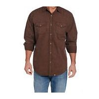 Cowboy Up by Sidran Brown Long Sleeve Vintage Wash Woven Mens Shirt CB71104