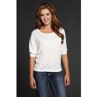 CG505-08 White Lace Womens 3/4 Sleeve T-shirt Cowgirl Up Shirt