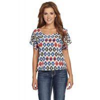 CG505-05 Polyester Short Sleeve Tribal Print Womens Cowgirl Up Shirt