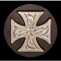 CO570 Silver/Brown Maltese Cross Womens Concho