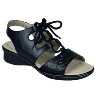 D2758-01 Black Ghillie Tie Womens Rieker Fashion Sandals