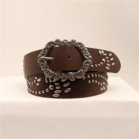 M&F Angel Ranch Brown Studded Design Womens Belt DA6324