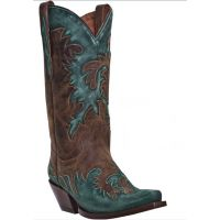 DP3507 Brown with Turquoise overlay Dan Post Ladies Boots