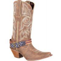 Durango Brown Khaki Crush Womens Flag Accessory Western Boots DRD0208