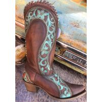 Corral Chocolate/Turquoise Overlay Woven Crystal & Studs Snip Toe Womens Western Boots E1538