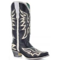 Corral Black & White Women's Studded Inlay Western Boots E1543