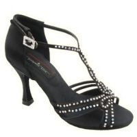 Black with Rhinestones Stephanie Ballroom Shoes with 2.5 Inch Heel
