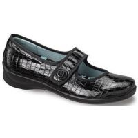 E335 Lucy Croco Leather Mary Jane Velcro Closure Aetrex Womens Shoes