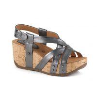 Bussola Soft Metallic Pewter Fabia Womens Adjustable Back Wedge Sandals FABIA