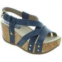 Bussola Navy Frida Womens Strappy Wedge Sandals FRIDA-NAVY