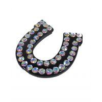 FSP0190 Black Horseshoe with Crystal Pendant