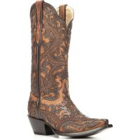 Corral Full Overlay and Studs Brown Womens Western Boots G1309