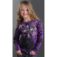 Print Knit Long Sleeve Tee Rock & Roll Lil' Cowgirl Western Shirts