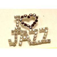J-32  Rhinestone  I LOVE JAZZ Pin - Red Stones Around Heart