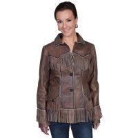 Scully Brown Fringe Lamb Womens Jacket L11