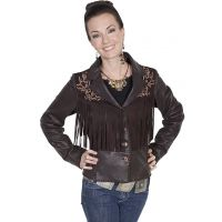 Scully Dark Brown Rugged Lamb Womens Fringe Jacket L243