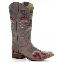 Corral Brown Floral Embroidery Square Toe Womens Boot L5387