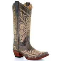 Corral Circle G Distressed Filigree Embroidered Womens Snip Toe Western Boots L5407