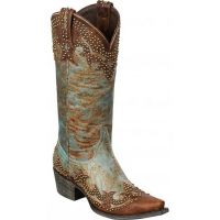 LB0202A STEPHANIE Distressed Turquoise Lane Womens Cowboy Boots