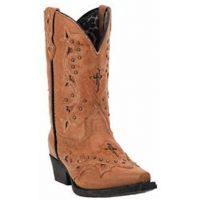 Laredo Cross and Studs Tan  Kids Western LC2283