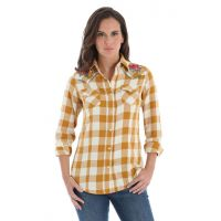 Wrangler Gold/Cream Womens Long Sleeve Snap Western Fashion Top LW1865M