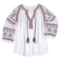Wrangler White/Turqipose/Orange Long Sleeve Womens Peasant Top LW2050M