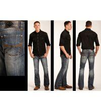 Rock and Roll Cowboy Pistol Boot Cut Mens Jeans M0P3472