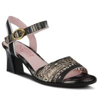 L'Artiste Black Multi Madelyn Ankle Strap Womens Dress Sandal MADELYN
