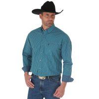Wrangler George Strait Navy/Turquoise Long Sleeve Buttondown Mens Western Shirt MGSB522