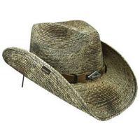 Monterrey Bay Palm Leaf Straw Stained/Burned Mens Western Cowboy Hats