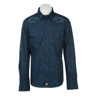 Rock 47 by Wrangler Mens Solid Navy Print Embroidery Western Snap Shirt MRC360M