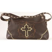 MSL430 Brown Leather 1 Compartment Handbag With Brass Cross