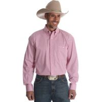 Wrangler Tough Enough to Wear Pink Long Sleeve Print Buttondown Mens Shirt MTP256M