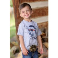 Cinch Toddler's Grey with Bull Wearing Sun Glasses Short Sleeve Shirt