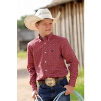 MTW7060134 Print Boys Long Sleeve Button Down Cinch Western Shirt
