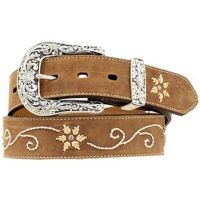 N34470-44 Rhinestone/Floral Embroidery Western Nocona Womens Belts