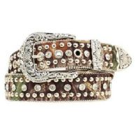 N34620222 Camo Nocona Womens Belt With Silver Studs and Rhinestones