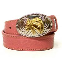N44105-30 Pink Tooled Leather Horsehead Buckle Nocona Girls Belts