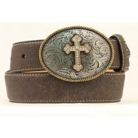 N44280-02 Distressed Brown With Cross Buckle M&F Girls Western Belt