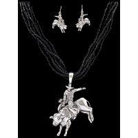 NE1104ASBK Silver Strike Black Beaded Bull Rider Earring & Necklace Set