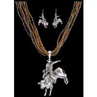 NE1104ASBR Silver Strike Brown Beaded Bull Rider Earring & Necklace Set