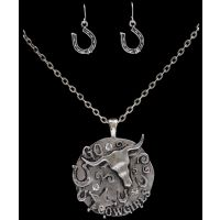 NE2340SBCL Silver Strike Western Circle Earring & Necklace Set