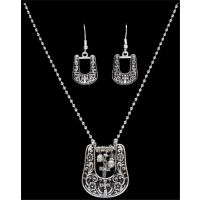 NE40066AS Crystal Horse Shoe & Cross Pendant Necklace and Earring Jewelry Set