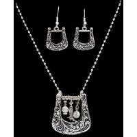 NE40068AS Silver Strike Boot Buckle Earring & Necklace Set