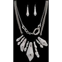 NE7047RH Silver Strike Silver Earring & Necklace Set
