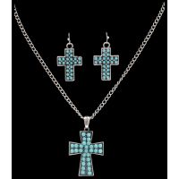 NE7113SBTQ Silver Strike Turquoise Cross Earring & Necklace Set