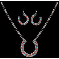 NE7115TQRD Strike Turquoise & Red Horseshoe Earring & Necklace Set
